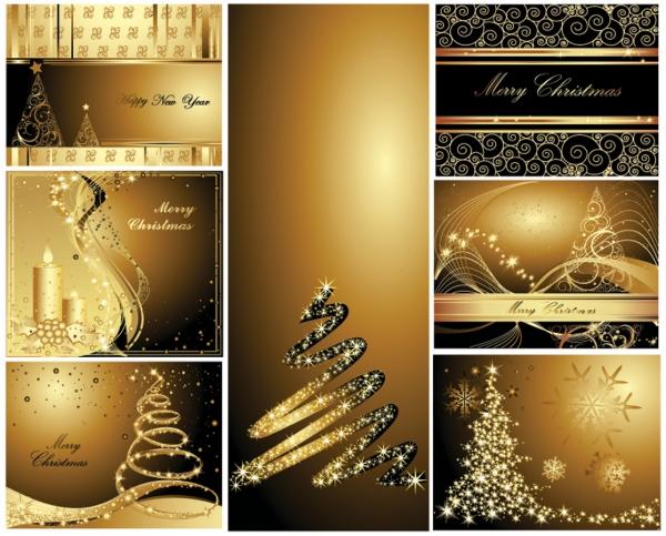 金色を基調にした豪華なクリスマス背景 gold christmas postcards