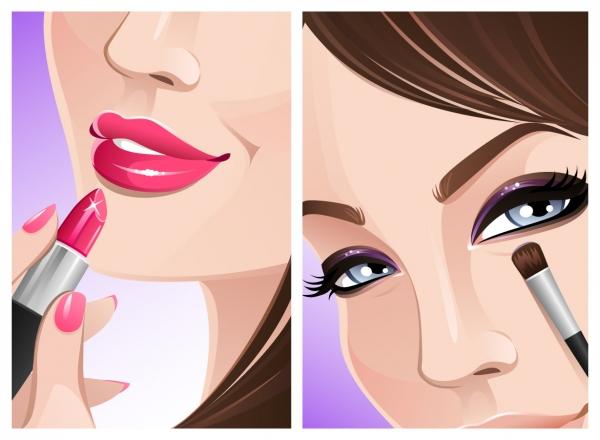 お化粧する女性のイラスト Women makeup