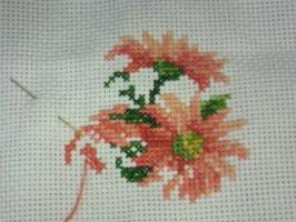 刺繍(ガーベラ)