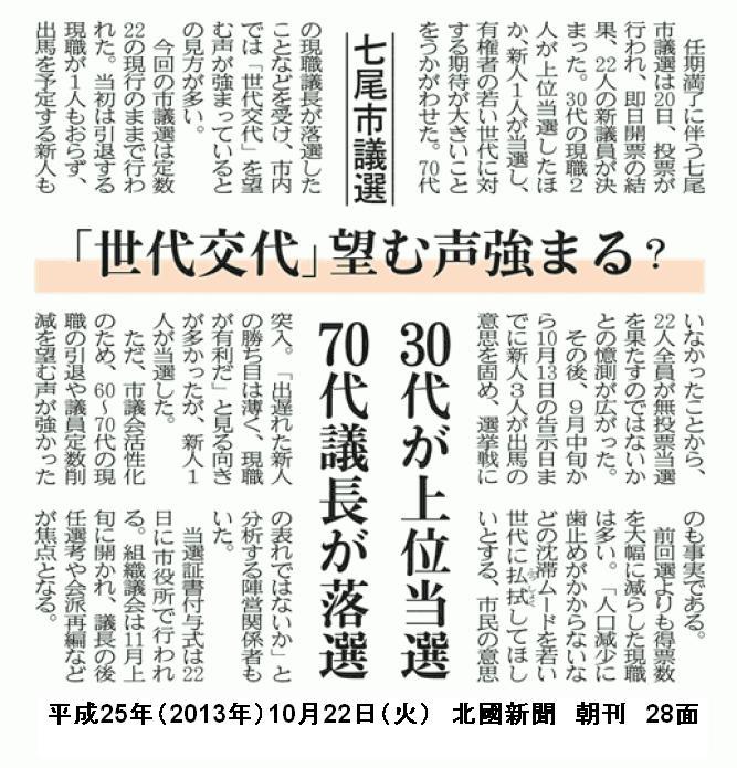 平成25年10月22日(火) 北國新聞 朝刊 28面