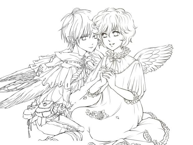 天使絵 コラボ 原画