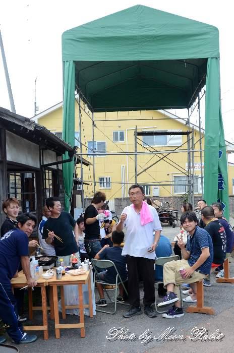 喜多川中屋台(だんじり) 仮設収納庫(テント) 愛媛県西条市喜多川 西条祭り2013