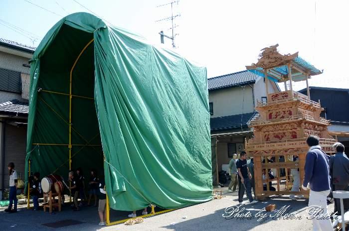 常盤巷屋台(だんじり) 仮設格納庫(テント) 西条祭り2013 愛媛県西条市