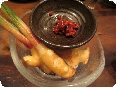 谷中生姜のもろみ味噌添え