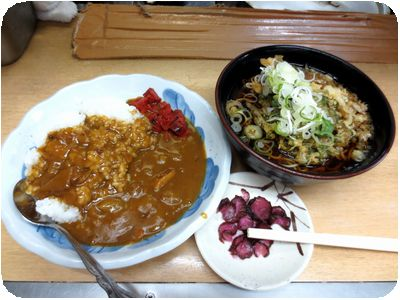 カレー定食+春菊天