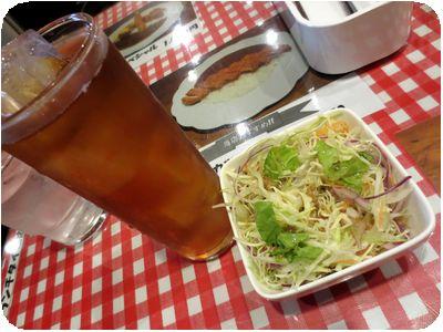 サラダ・ウーロン茶