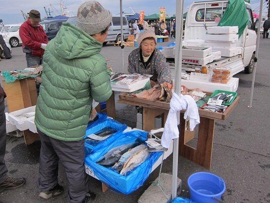 館鼻朝市の鮮魚店 風景