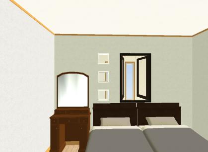 ニ階寝室ガラスブロック