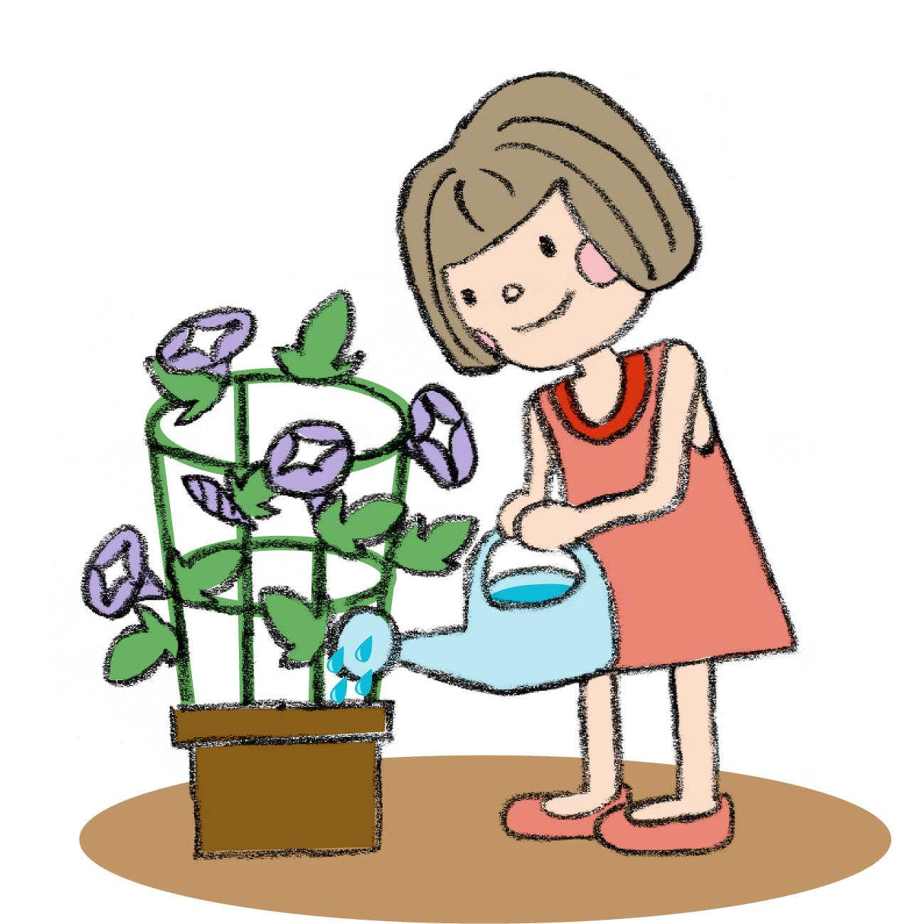 手書き風でかわいい女の子がアサガオの水やりをしているイラスト