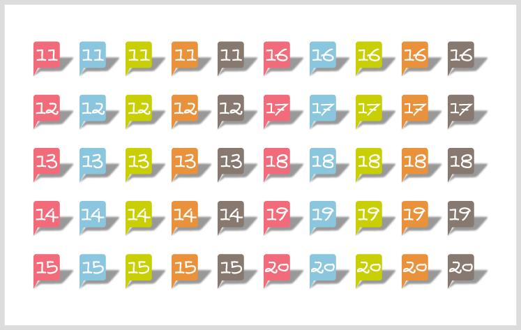手書き風フォントでかわいいカラフルな数字イラスト