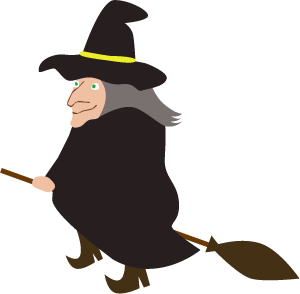 シンプルでかわいいハロウィン用の箒に乗った魔女のイラスト