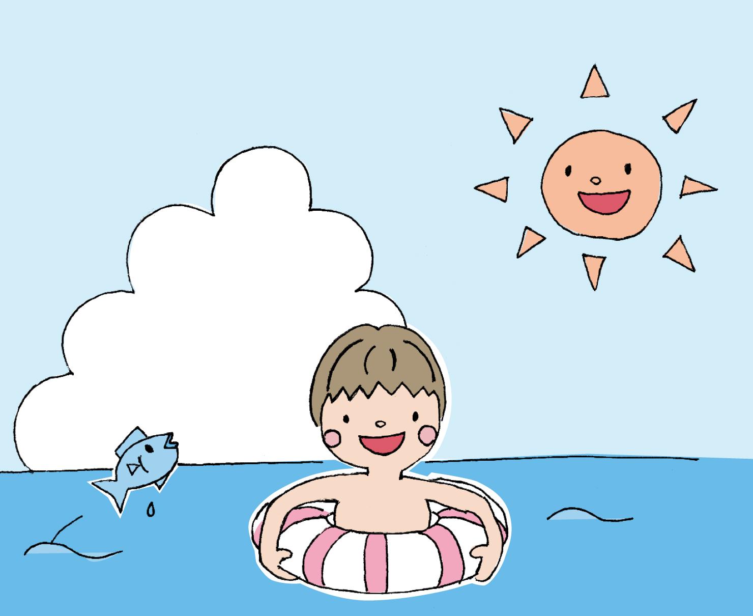 シンプルでかわいい男の子が浮き輪で海を泳いでいるイラスト