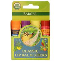 Badger Company, Organic Classic Lip Balm Sticks, 4 Lip Balm Sticks