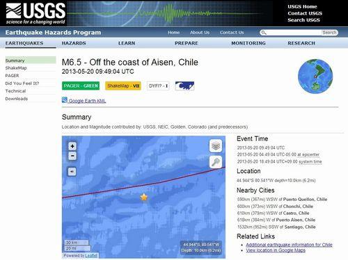 チリでM6.5の地震