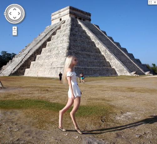 【閲覧注意】グーグルマップでマヤ文明のピラミッドを見るとゾッとする姿の女性が映っていると話題に