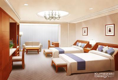 ホテル 旅館 客室 内観パース 手書きパース 手描きパース インテリアパース インナーパース フォトショップ