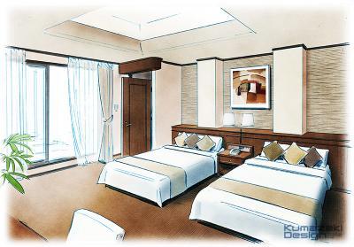 ホテル 旅館 客室 内観パース 手書きパース 手描きパース スケッチパース インテリアパース インナーパース ラフスケッチ フォトショップ