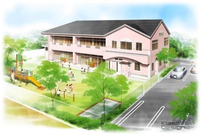 幼稚園 保育園 鳥瞰パース 完成予想図 手書きパース 手描きパース フォトショップ着色 photoshop