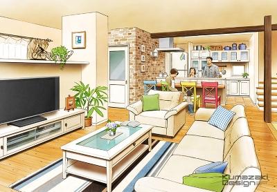 一戸建て住宅 木造住宅 パース リビング キッチン LDK 内観パース 手書きパース 手描きパース フォトショップ photoshop