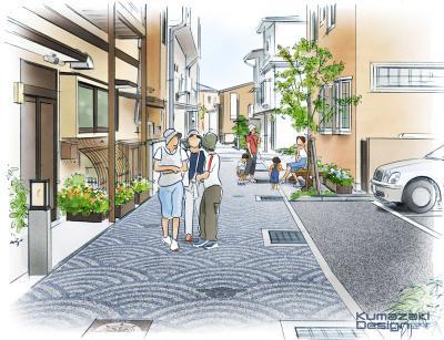 街角整備 景観 路地 道路 水路 広場 ランドスケープ イメージパース イメージスケッチ 水彩 フォトショップ