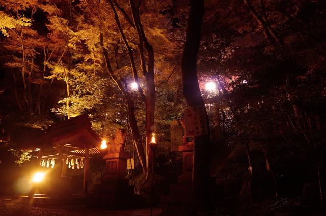 秩父御岳神社の紅葉ライトアップ
