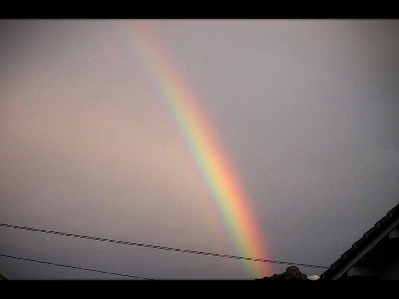 虹と夕日とさくら