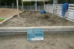 保育所。砂場清掃、作業前