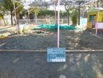 幼稚園。砂場清掃掃除、作業前