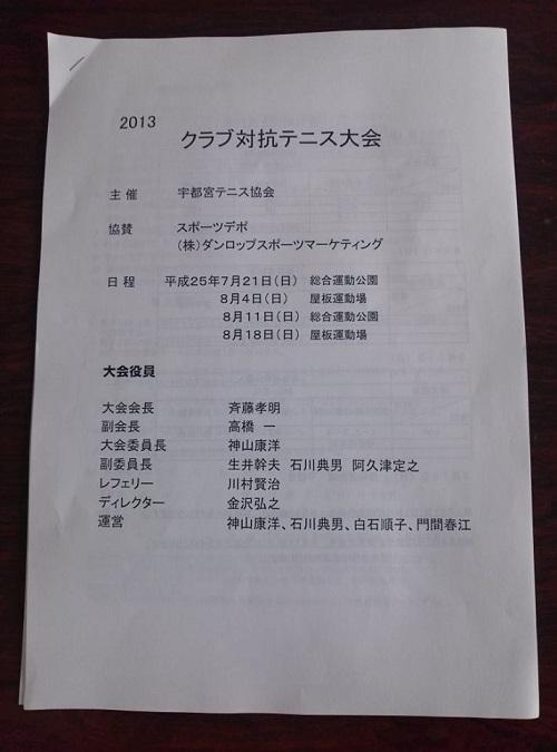 宇都宮テニス協会 主催<クラブ対抗テニス大会 2013>①