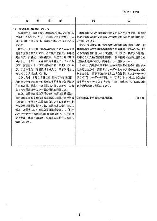 2013(平成25)年度 栃木県9月補正予算および政策推進に関する要望>ならびに<竜巻等被害に関する緊急要望>に対する回答⑬